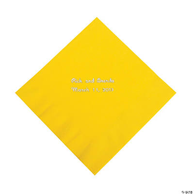 Yellow Personalized Napkins with Silver Foil - Luncheon Image Thumbnail