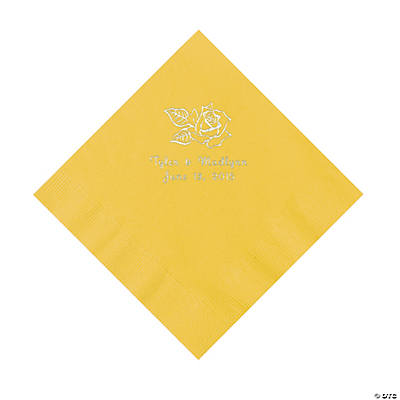Yellow Rose Personalized Napkins - Luncheon Image Thumbnail