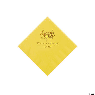 Yellow Thank You Personalized Napkins with Gold Foil - Beverage Image Thumbnail