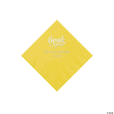 Yellow Thank You Personalized Napkins with Silver Foil - Beverage Image Thumbnail