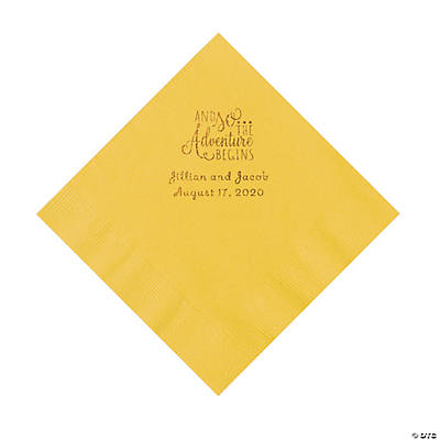 Yellow The Adventure Begins Personalized Napkins with Gold Foil - Luncheon Image Thumbnail