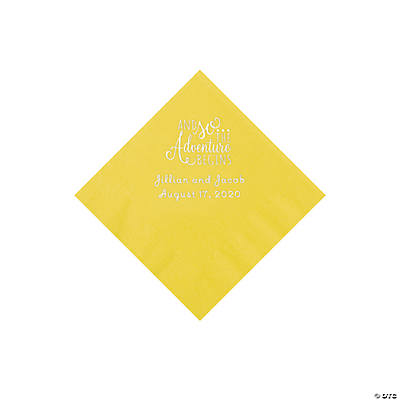 Yellow The Adventure Begins Personalized Napkins with Silver Foil - Beverage Image Thumbnail