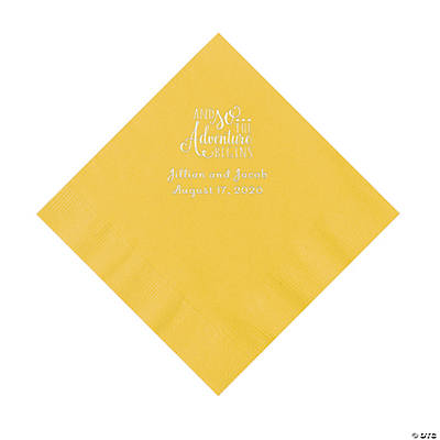 Yellow The Adventure Begins Personalized Napkins with Silver Foil - Luncheon Image Thumbnail