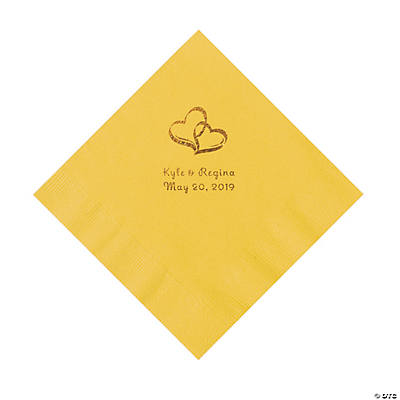 Yellow Two Hearts Personalized Napkins with Gold Foil - Luncheon Image Thumbnail
