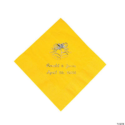 Yellow Wedding Bell Personalized Napkins with Silver Foil - Beverage