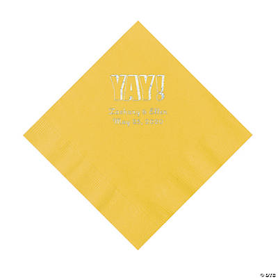 Yellow Yay Personalized Napkins with Silver Foil - Luncheon Image Thumbnail