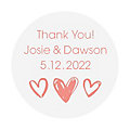 Personalized Hearts Clear Favor Stickers