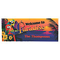 Personalized Small Luau Parrot Plastic Banner