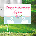 Personalized Sweet Swan Plastic Yard Sign