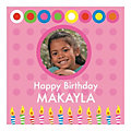 Square Pink Dots & Candles Birthday Photo Custom Banner