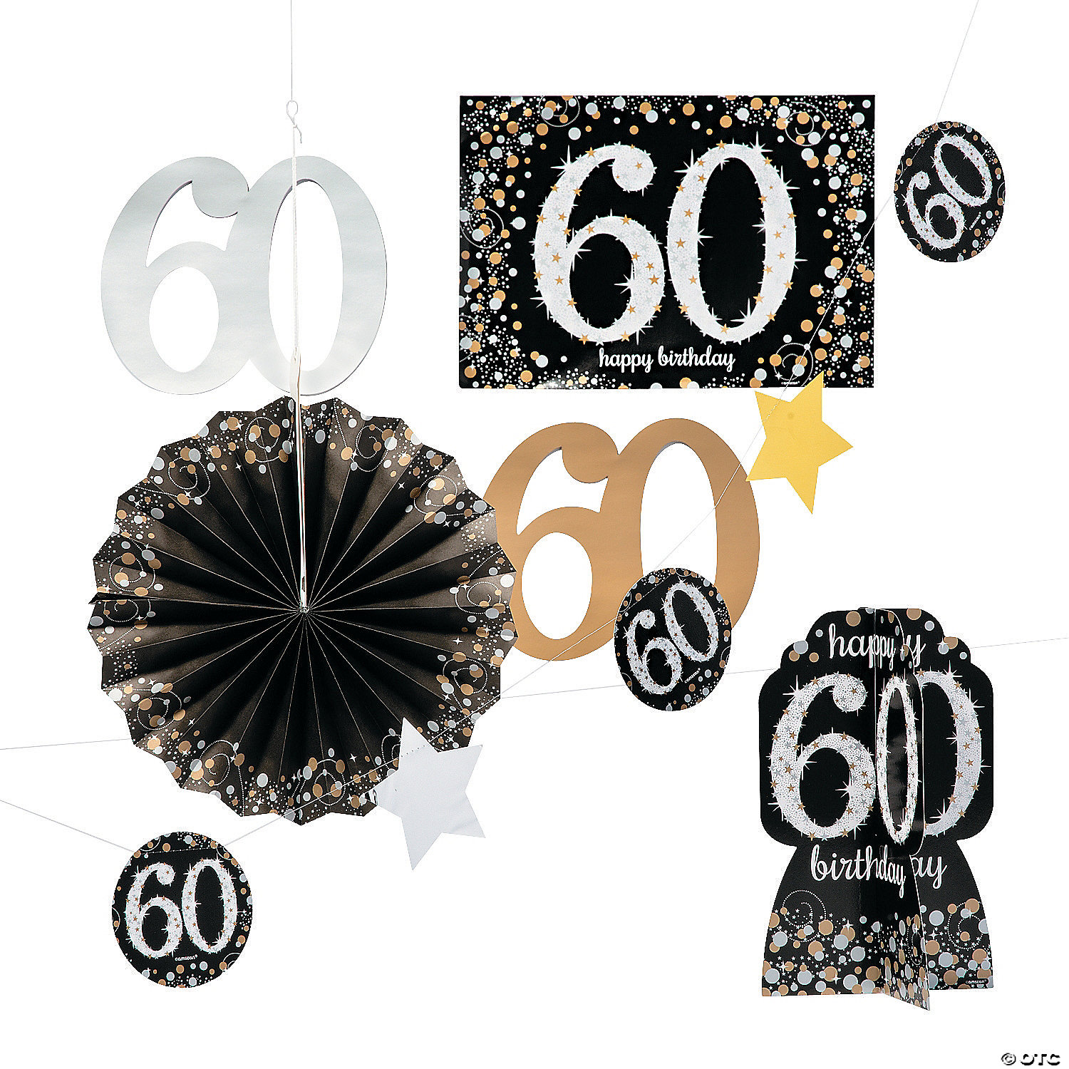 50th Birthday Black Glitz String HANGING DECORATIONS Birthday Party Decoration