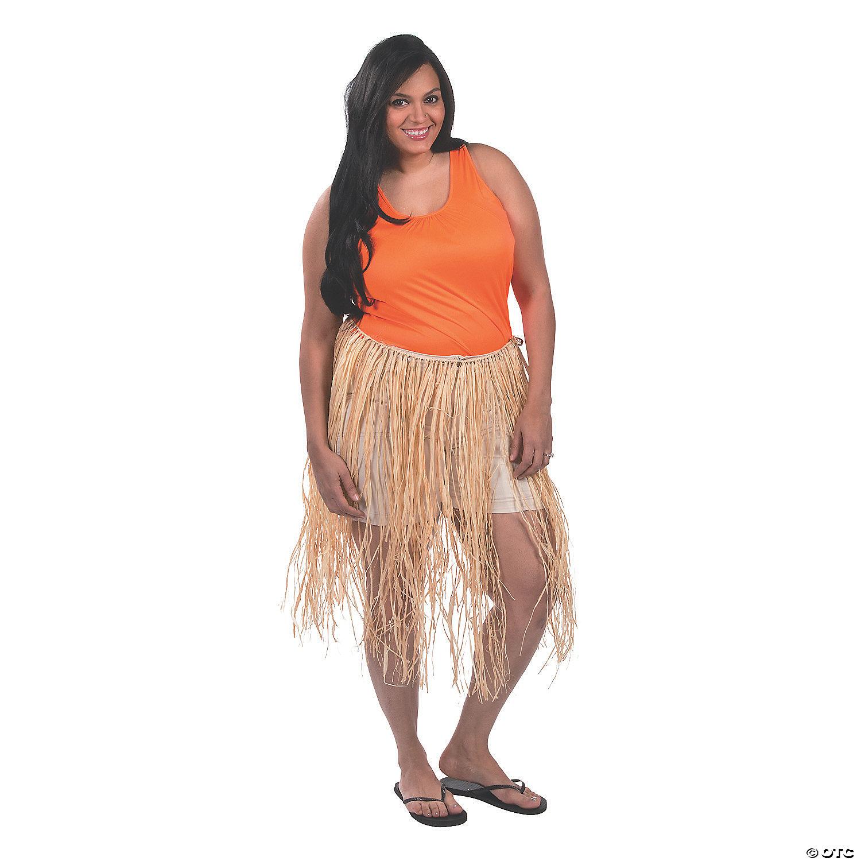 Adults Hawaiian Rafia Grass Effect Hula Skirt Fancy Dress 55cm Long One Size