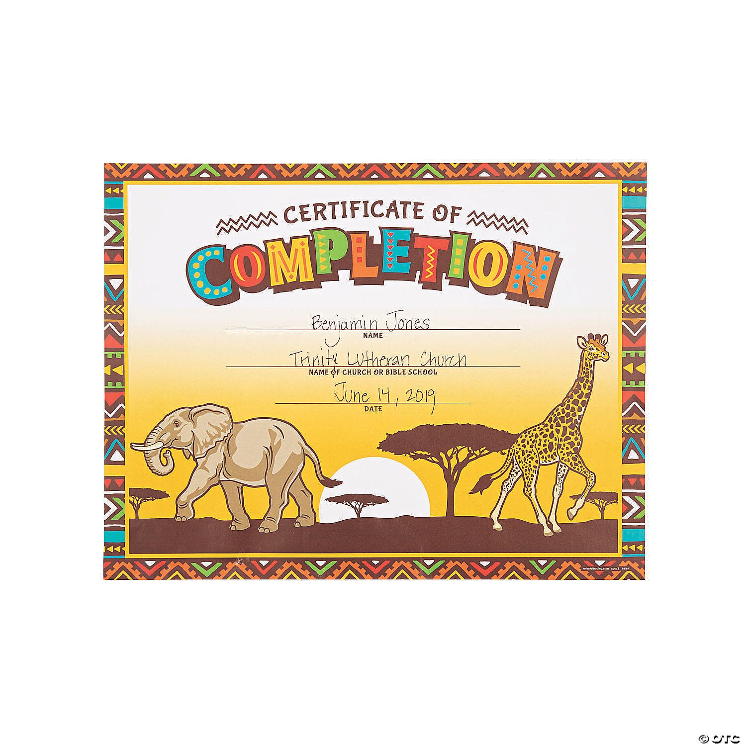African Safari VBS Certificates of Completion