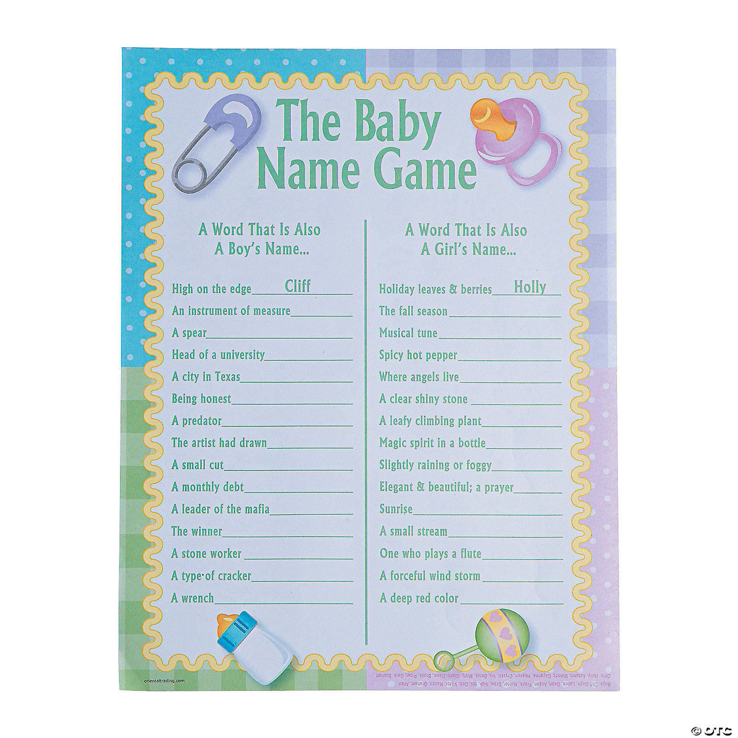 Baby Names Baby Shower Game Oriental Trading