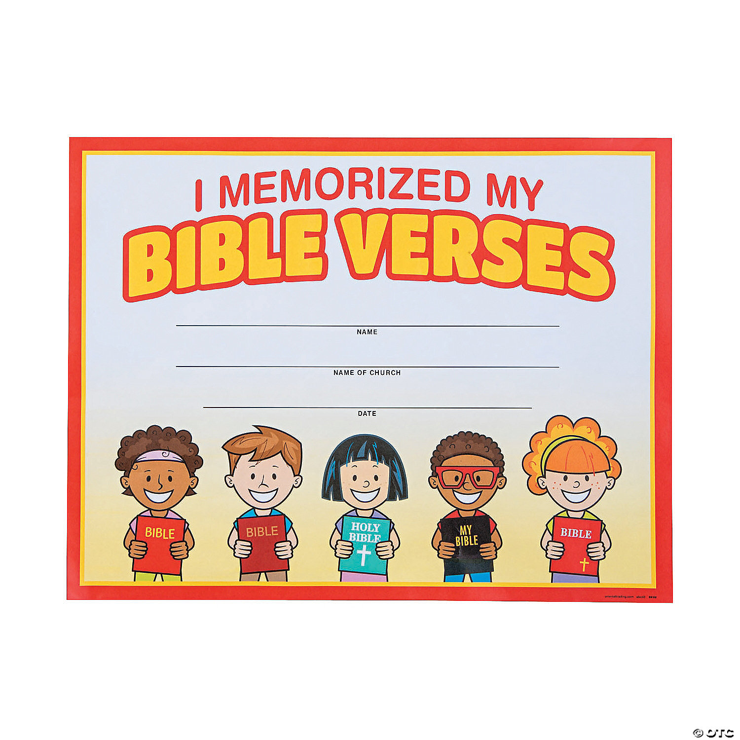 Bible Verse Memorization Certificates Of Completion Oriental Trading