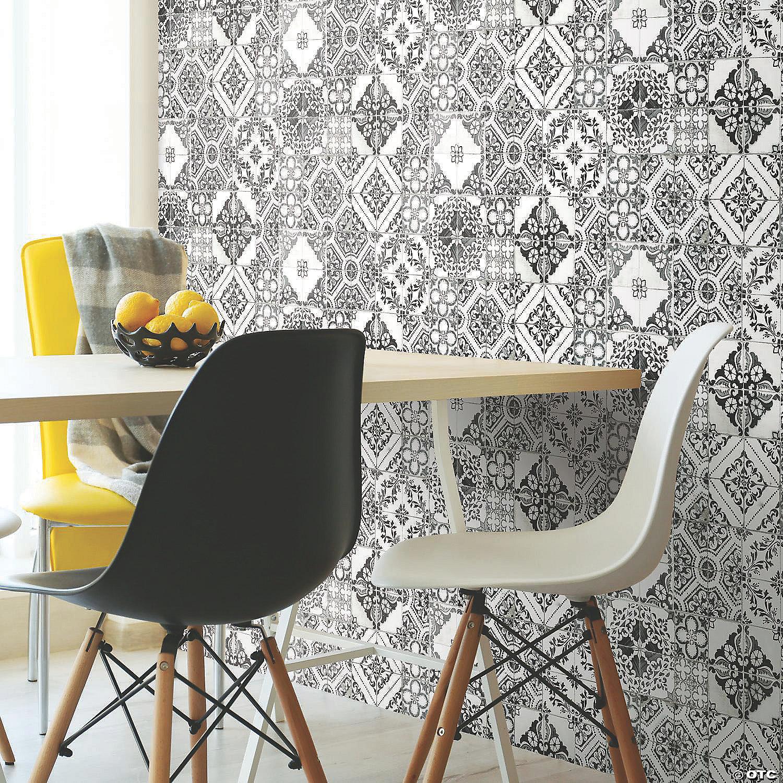 Black Mediterranean Tile Peel Stick Wallpaper Oriental Trading
