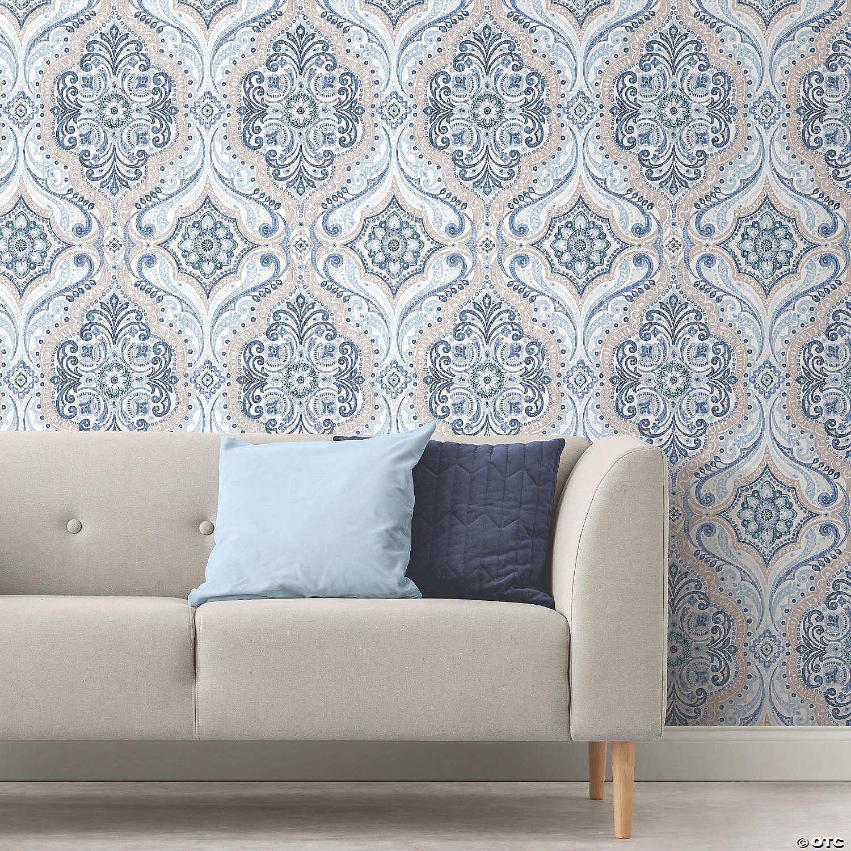 Blue Bohemian Damask Peel Stick Wallpaper