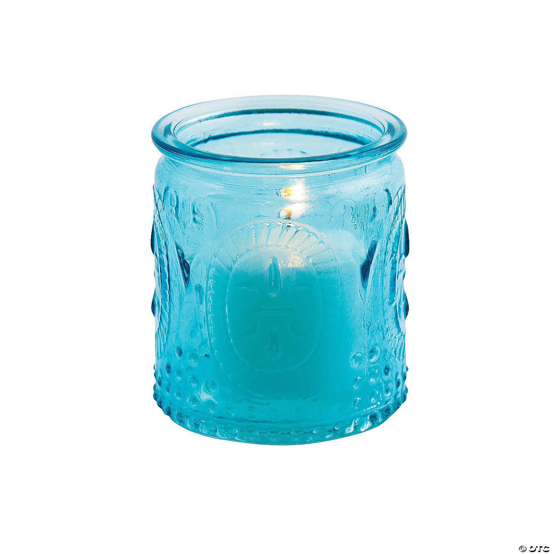 Blue Vintage Glass Votive Candle Holders Oriental Trading