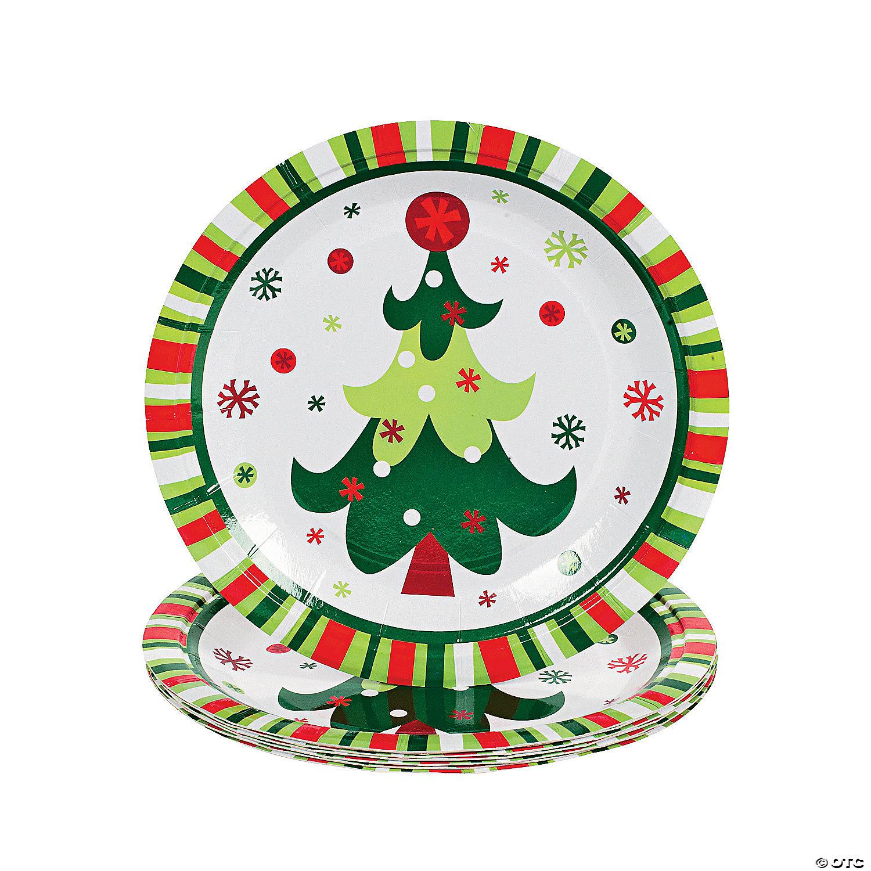 Christmas Paper Plates.Bright Christmas Paper Dessert Plates