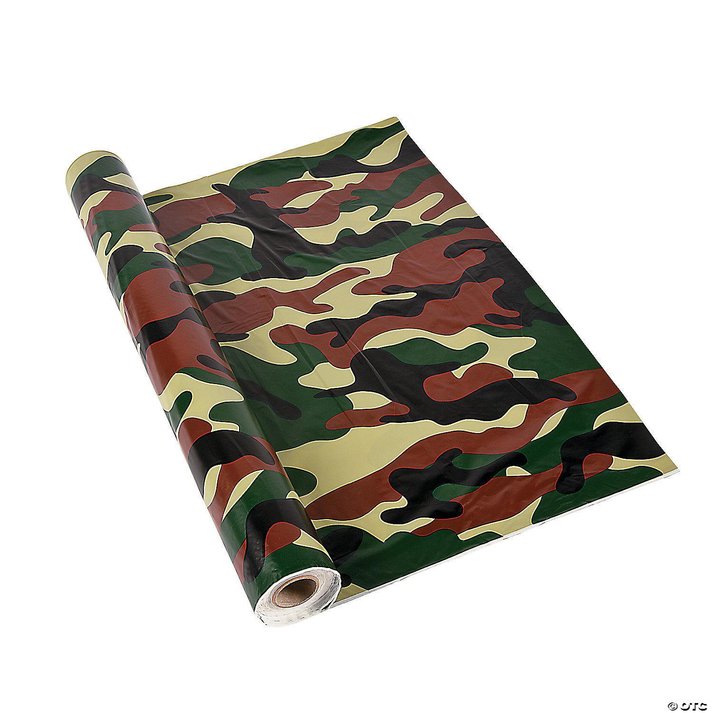 Camo Plastic Tablecloth Roll Oriental Trading