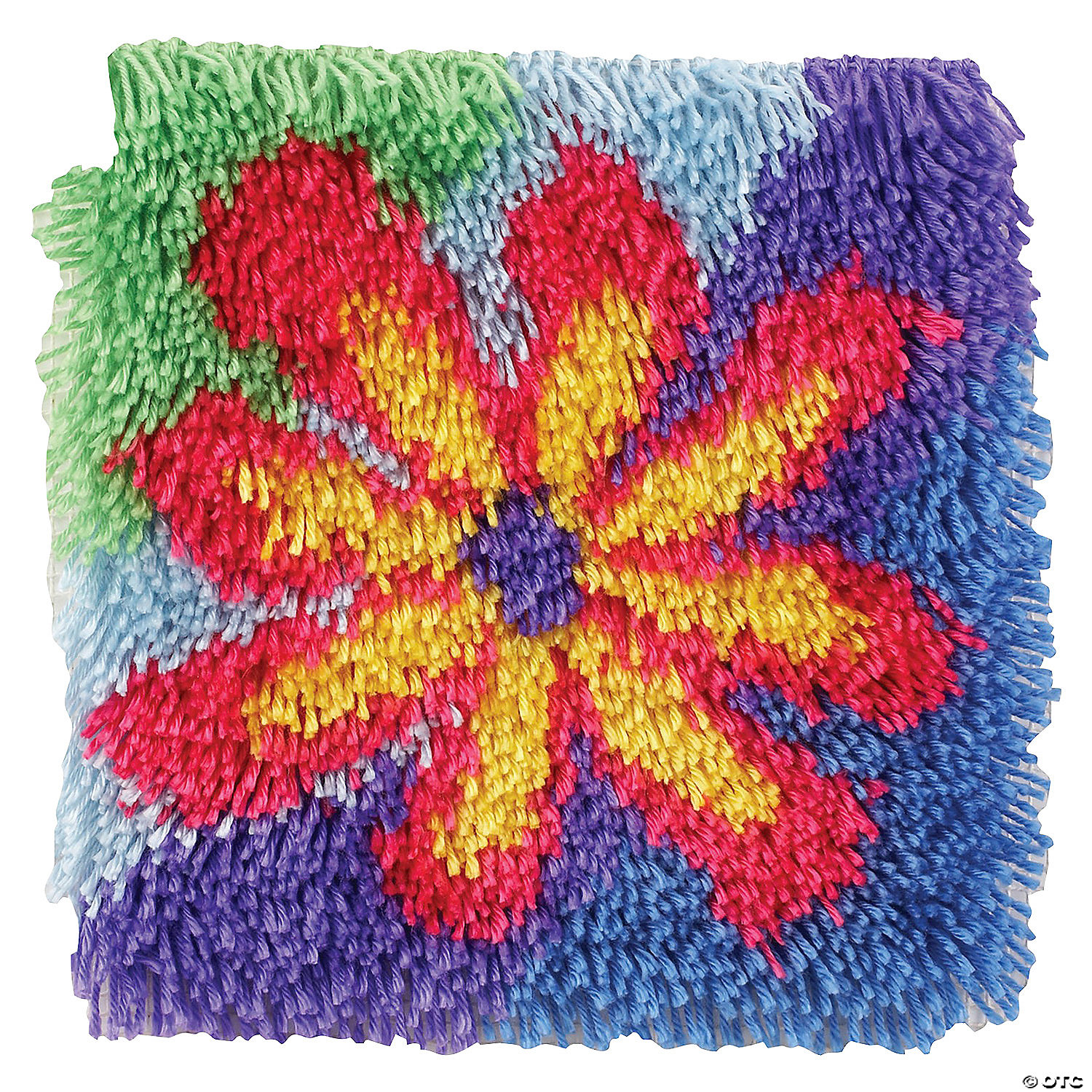 Caron Shaggy Latch Hooked Rug Kit Flower
