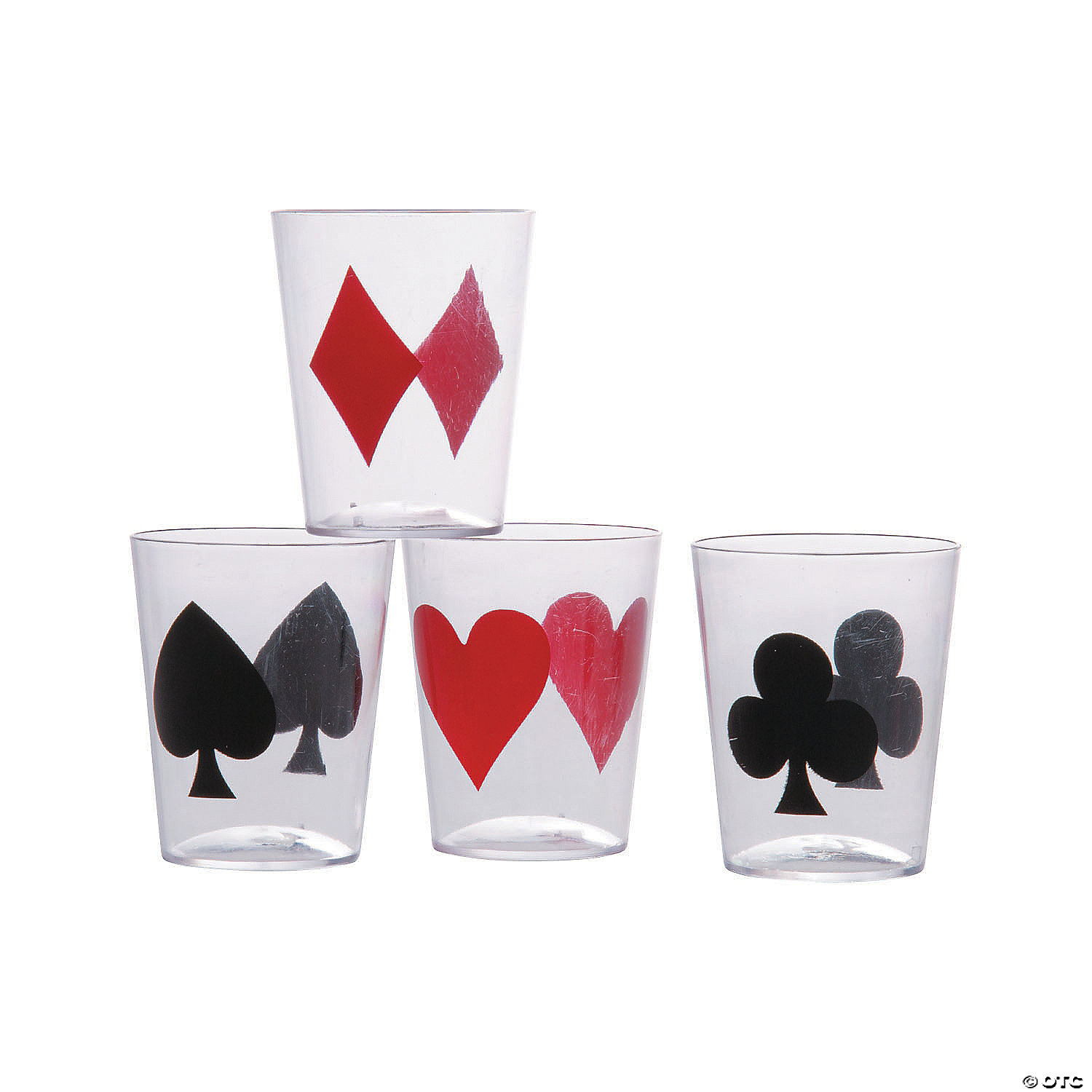 Set of 4 Card Suits Cocktail Glasses for Poker Night
