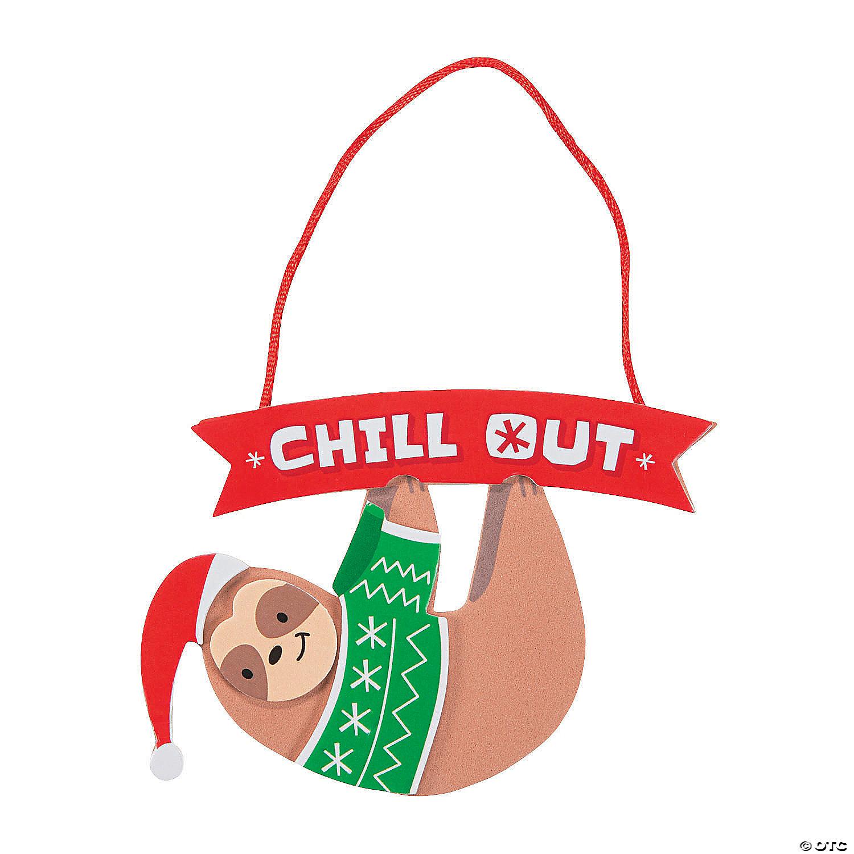 Christmas Sloth.Christmas Sloth Ornament Craft Kit