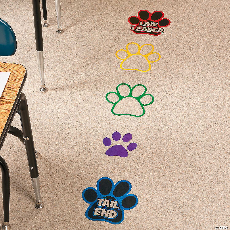 Paw Prints Floor Decals Stickers Classroom Line Up Floor Decal for School Classroom Decoration