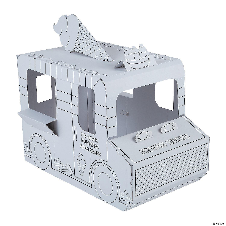 Color in Cardboard DIY Playhouse Fire Truck
