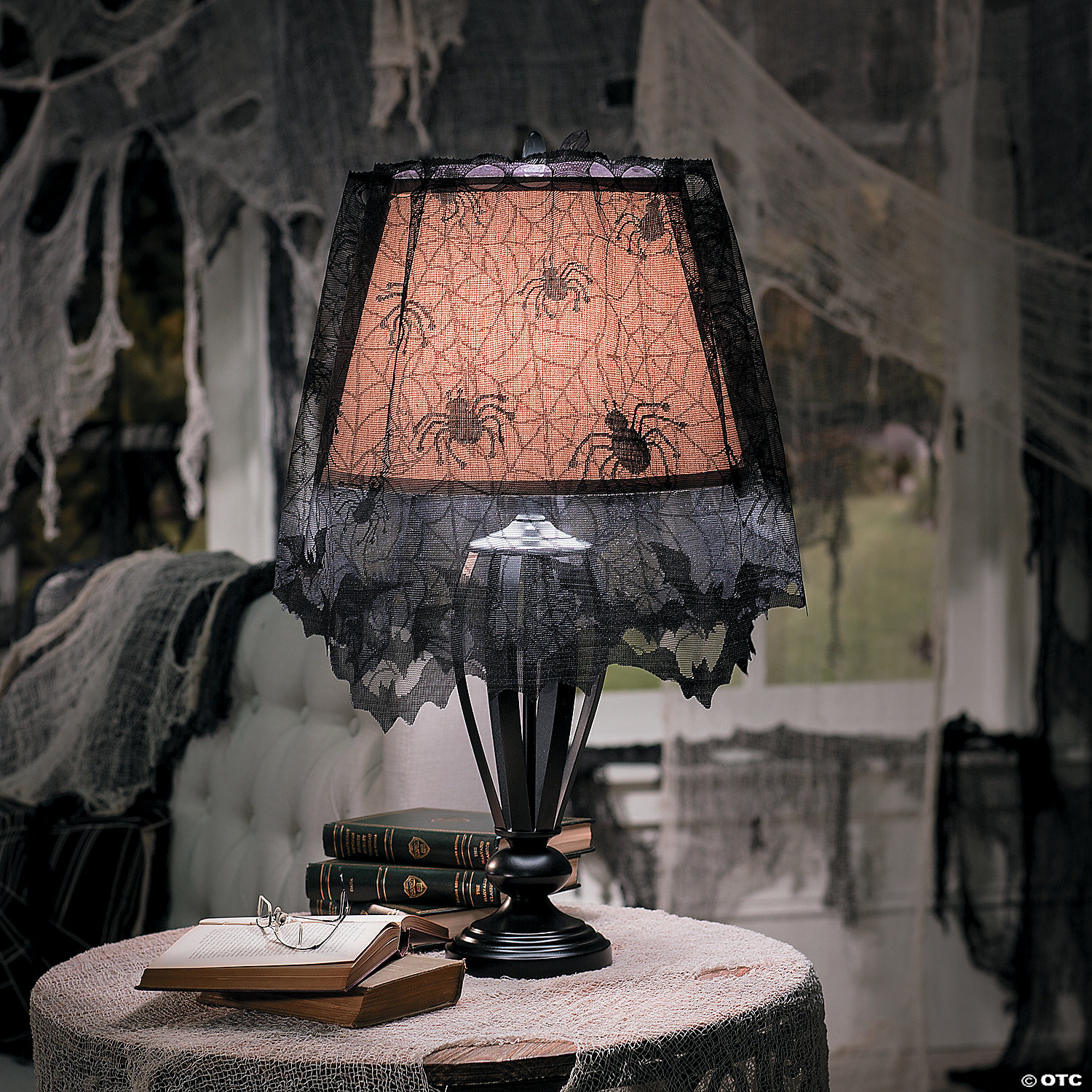 Creepy Lace Spiderweb Lampshade Topper Halloween Decoration