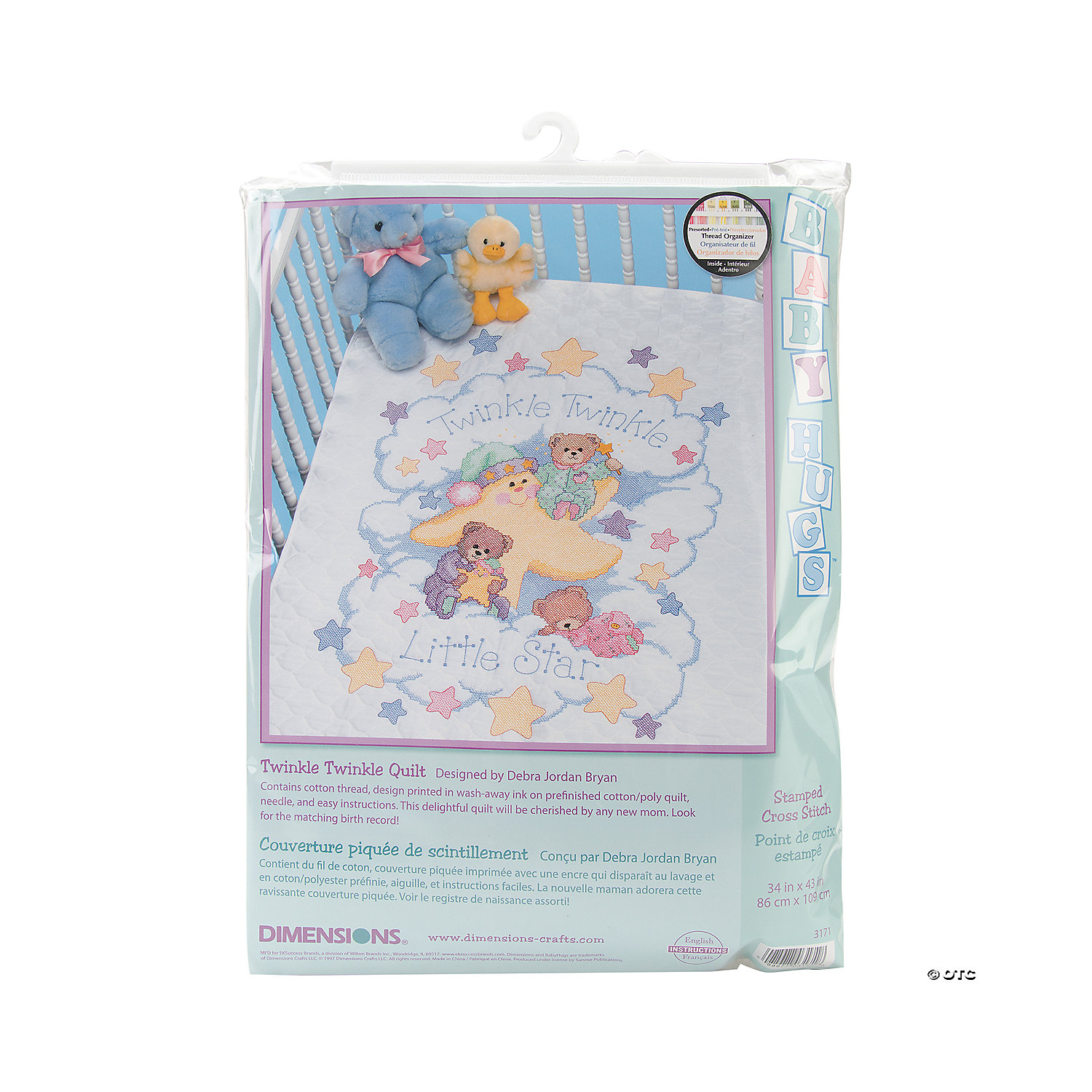Dimensions-Baby Quilt Stamped Criss Stitch Kit - Twinkle Twinkle