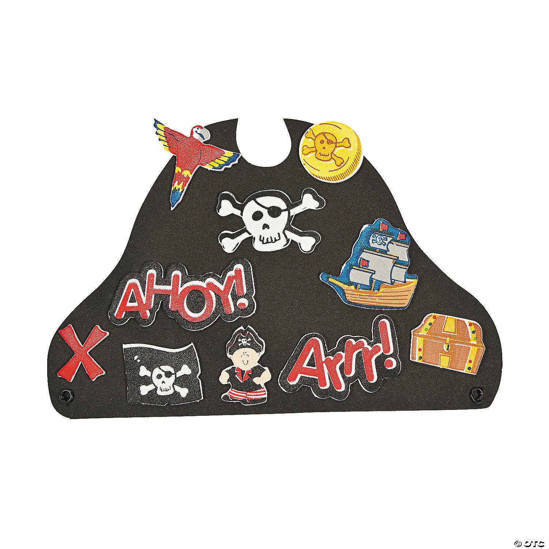2 Black Pirate Hat Foam Craft Kit with Foam Stickers