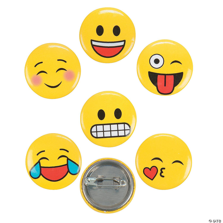 Emoji Mini Buttons 48 Pc Oriental Trading