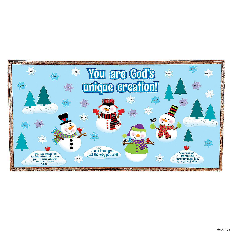 God Made Me Unique Snowman Bulletin Board Set Oriental Trading