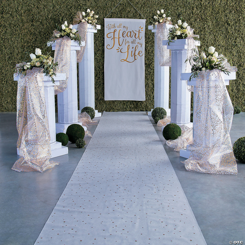 Aisle Runner For Wedding.Gold White Wedding Aisle Runner