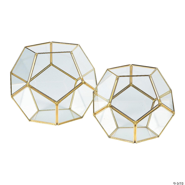 Gold Geometric Terrarium Candle Holders Oriental Trading