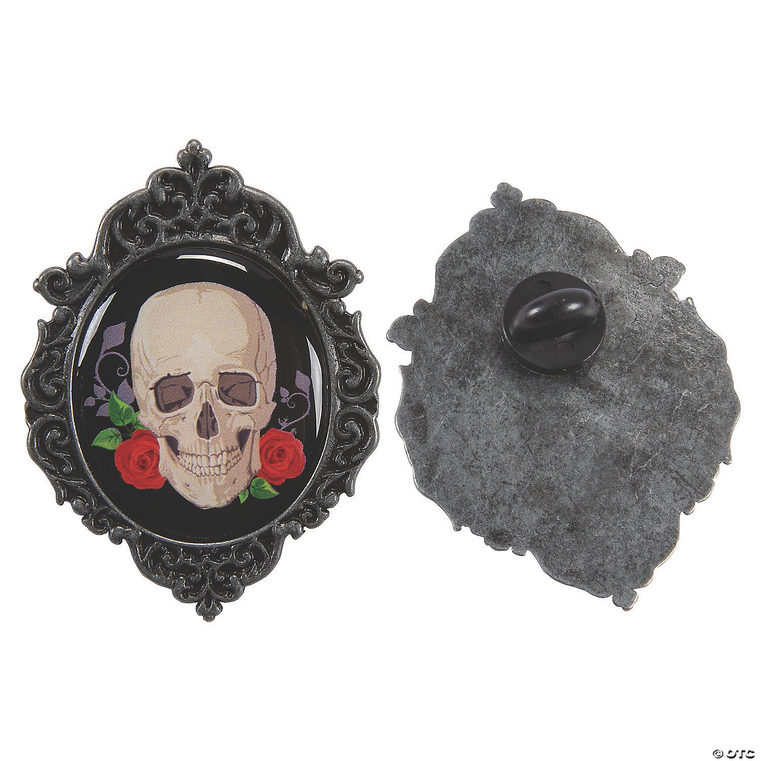 Halloween 2020 Cameo Gothic Halloween Skull & Roses Cameo Pins | Oriental Trading