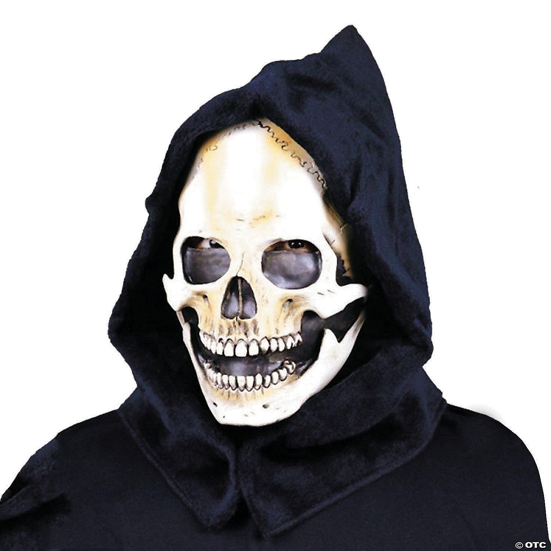 Deluxe Skull Half Face Mask Hair Fancy Dress Costume Accessory