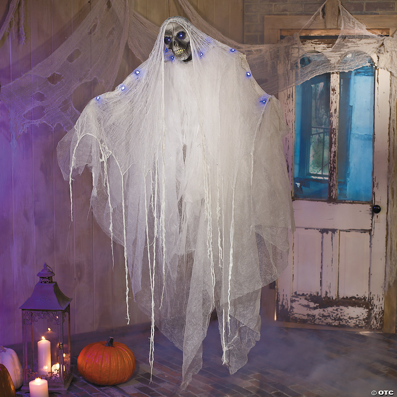Hanging Ghost With Blue Lights Halloween Decoration Discontinued