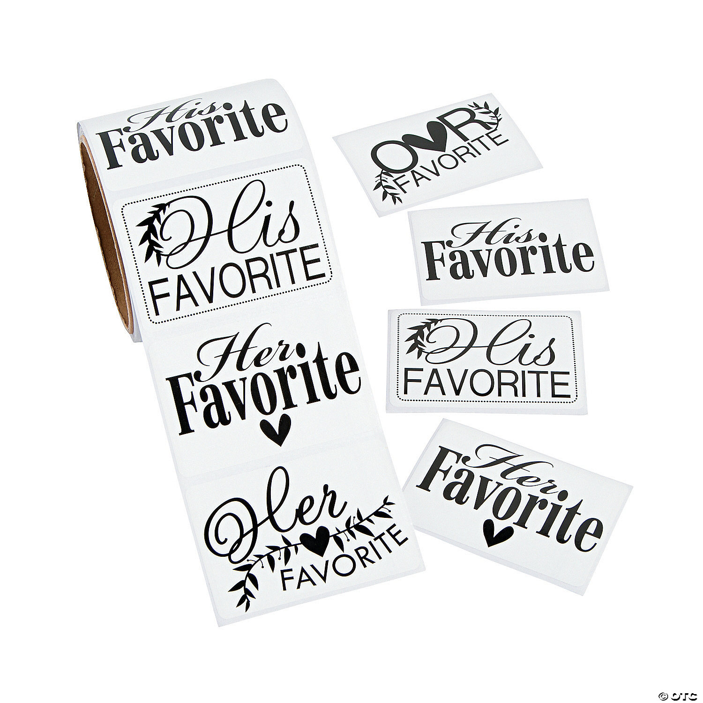 Floral Oval Kraft Favorites Wedding Favor Stickers His Favorite Her Favorite Our Favorite Wedding Stickers Kelly #308-009-OV-KR-WT-B