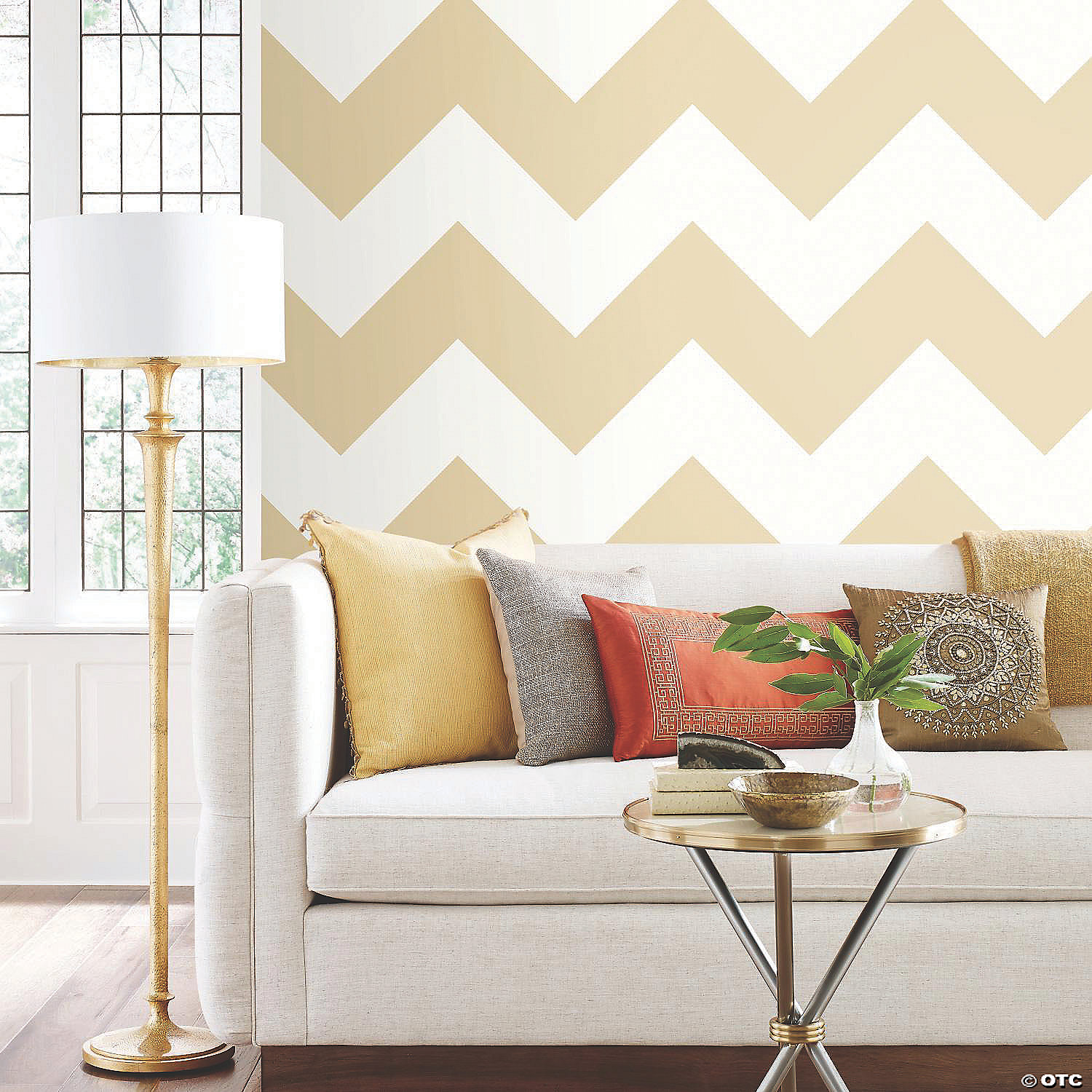 Large Chevron Gold Peel Stick Wallpaper Oriental Trading