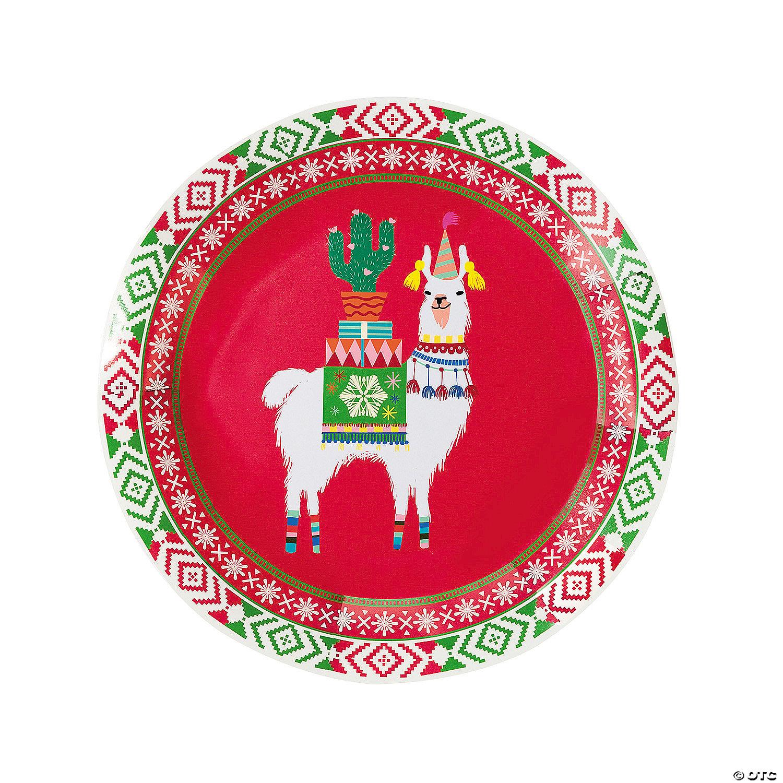 Llama Christmas.Llama Christmas Paper Plates