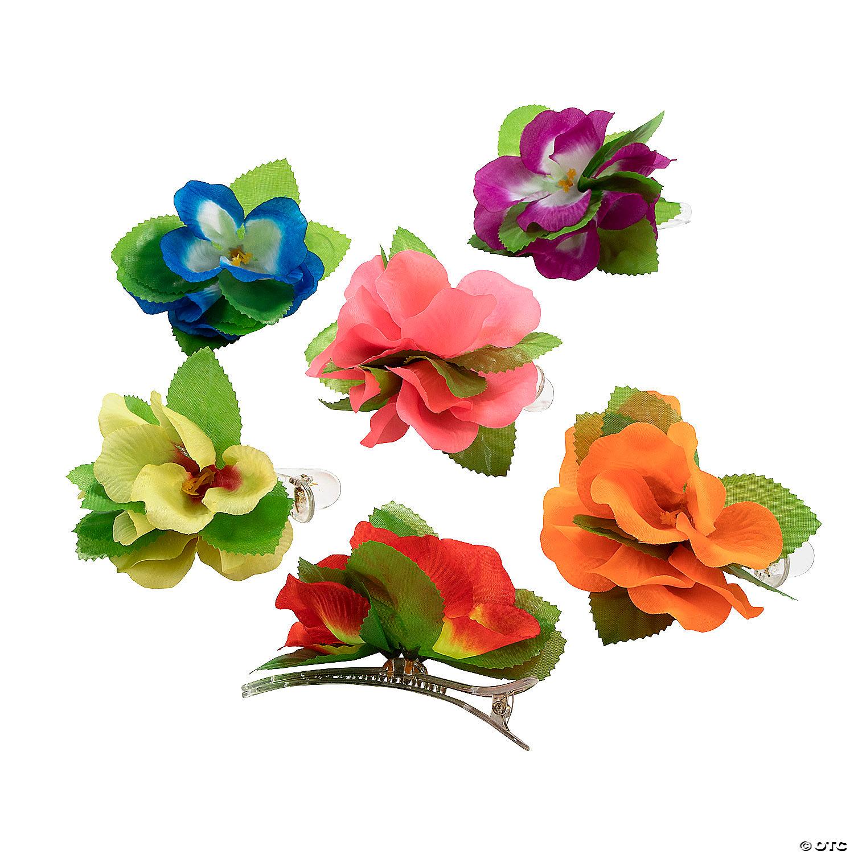 Luau Flower Hair Clips Oriental Trading