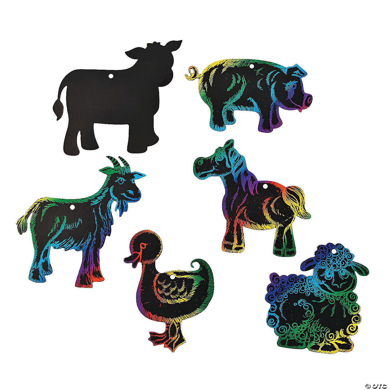 Magic Color Scratch Farm Animal Ornaments