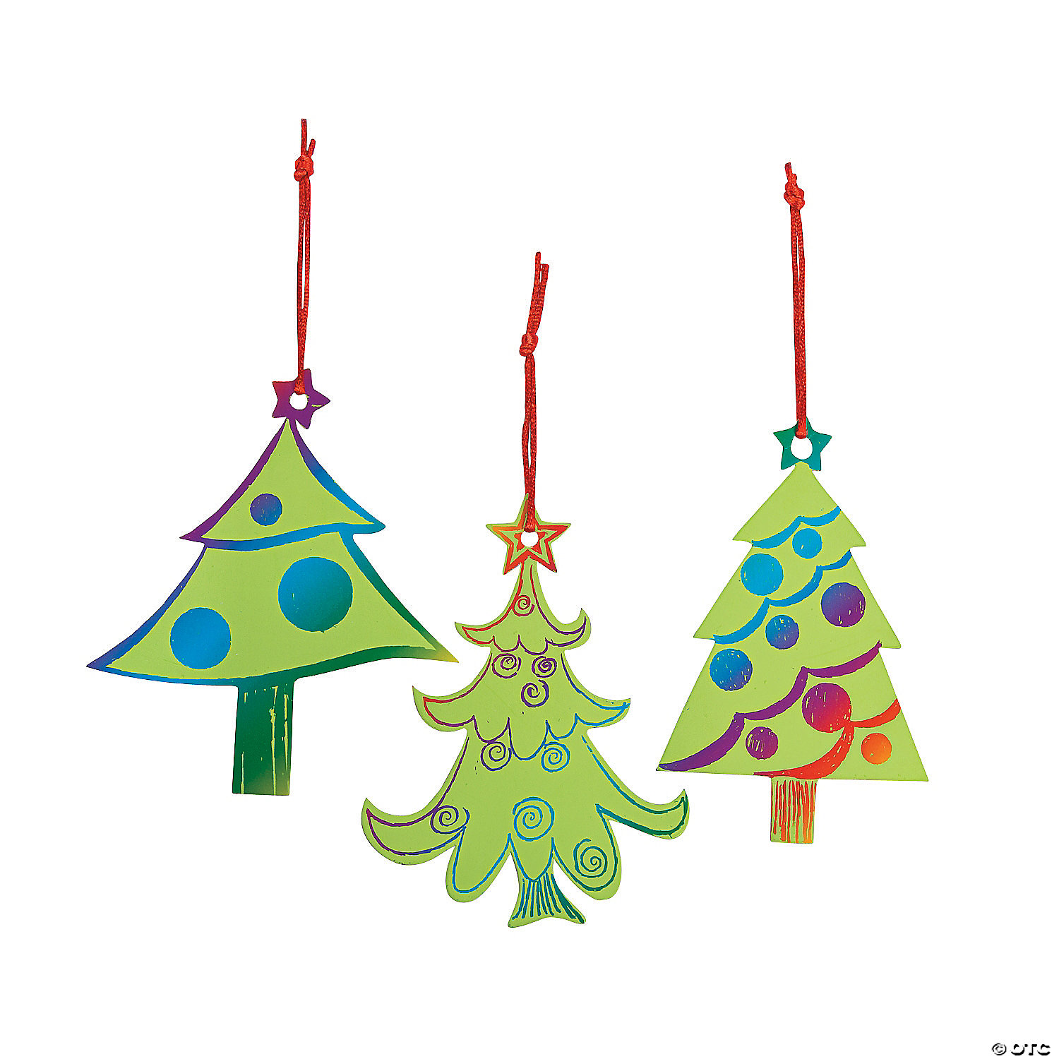 Magic Color Scratch Green Christmas Tree Ornaments Oriental Trading