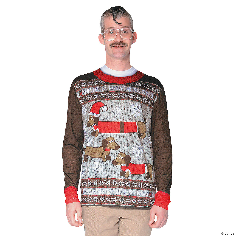 Mens Christmas Sweaters.Men S Ugly Christmas Sweater Wiener Wonderland T Shirt Costume