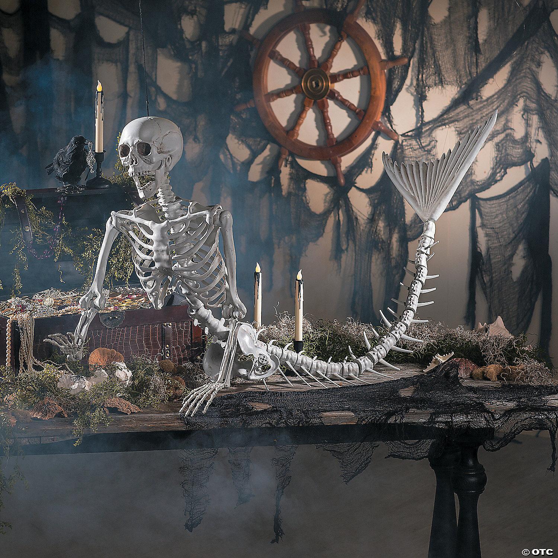 mermaid life-size skeleton halloween decoration