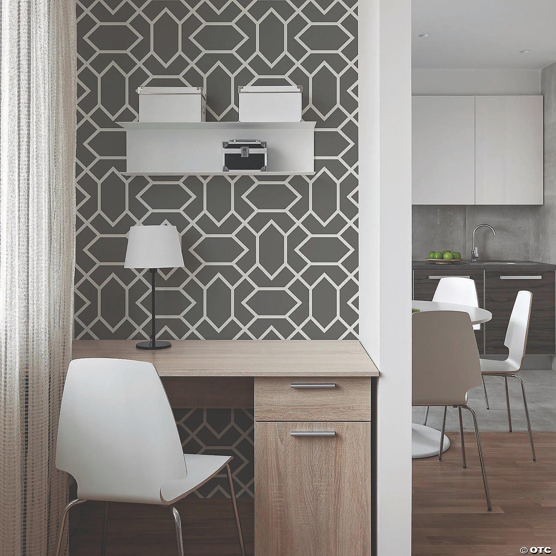 Modern Geometric Dark Grey Peel Stick Wallpaper Oriental Trading