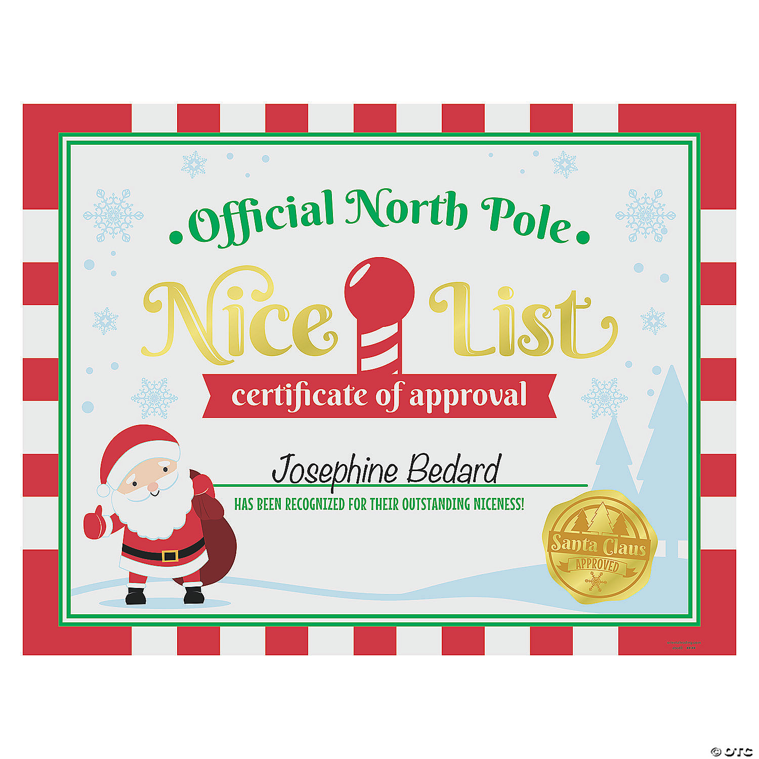 North Pole Nice List Certificates Oriental Trading