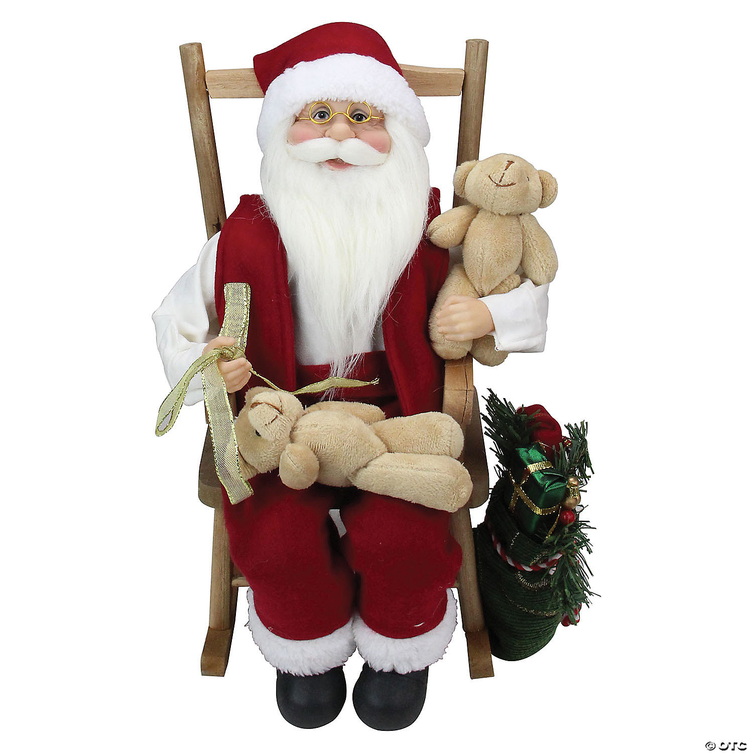 Northlight 14 75 Santa Claus In A Rocking Chair With Teddy Bears Figurine Oriental Trading